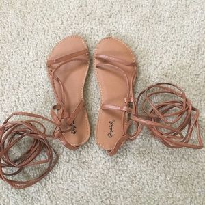 Qupid Shoes - Qupid lace up gladiator sandals TAN